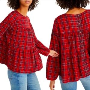 Madewell Tiered Button Back Red Plaid Shirt XXS
